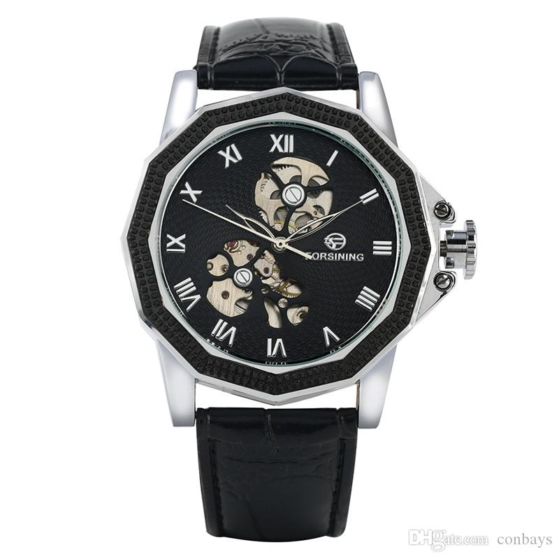 Business Automatic Mechanical Watch for Men Luxury Black Leather Strap Watches for Male Classic Stainless Steel Skeleton Dial Wristwatch