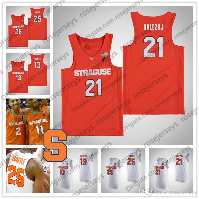 the latest 3126a d62f0 NCAA Syracuse Orange #21 Marek Dolezaj 13 Paschal Chukwu 33 Elijah Hughes  35 Buddy Boeheim white Stitched College Basketball Jerseys S-4XL