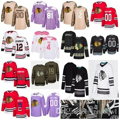 Chicago Classic Blackhawks-Trikot 2019 von Patrick Kane 2 Jonathan Toews Duncan Keith Alex DeBrincat von Seabrook Black Hockey