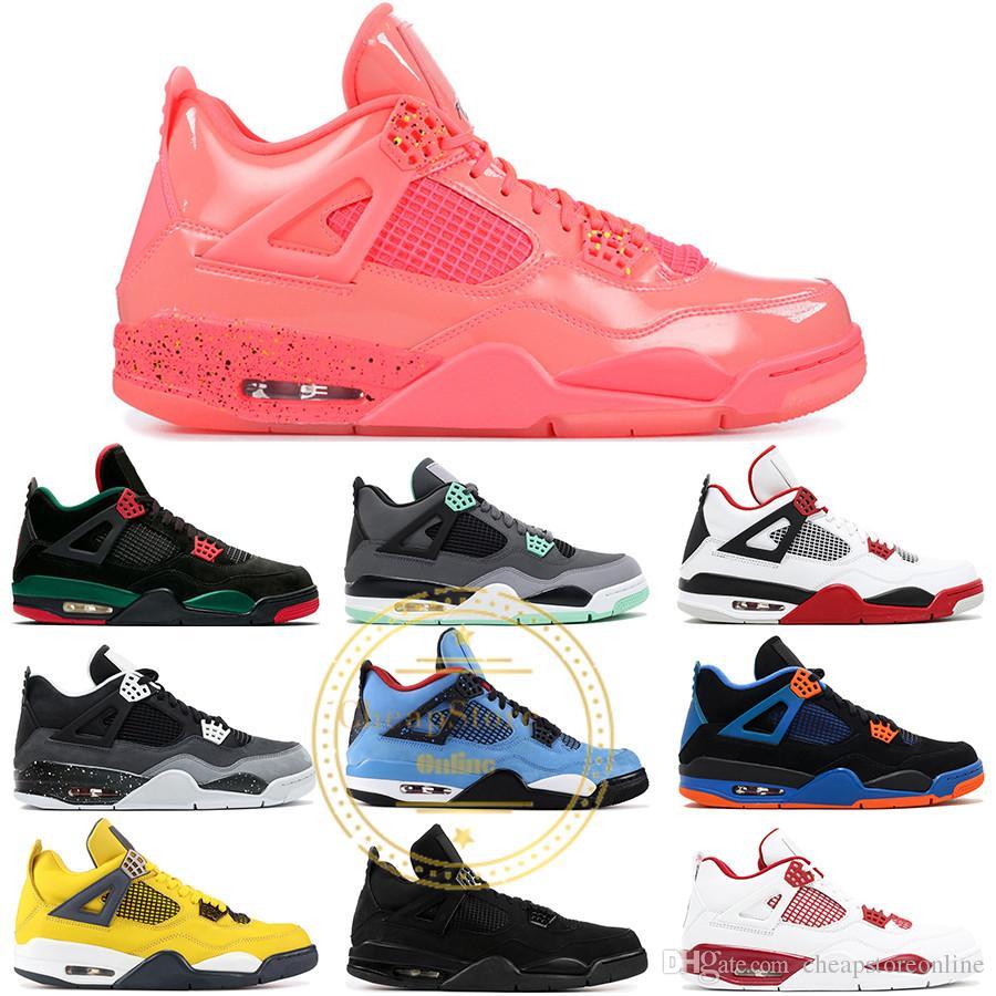 4 Männer Basketball Schuhe Hot Punch Blitz Tattoo Angst Pack Feuer Rot Motorsport Oreo 4 S Athletic Designer Sport Turnschuhe US 8 13
