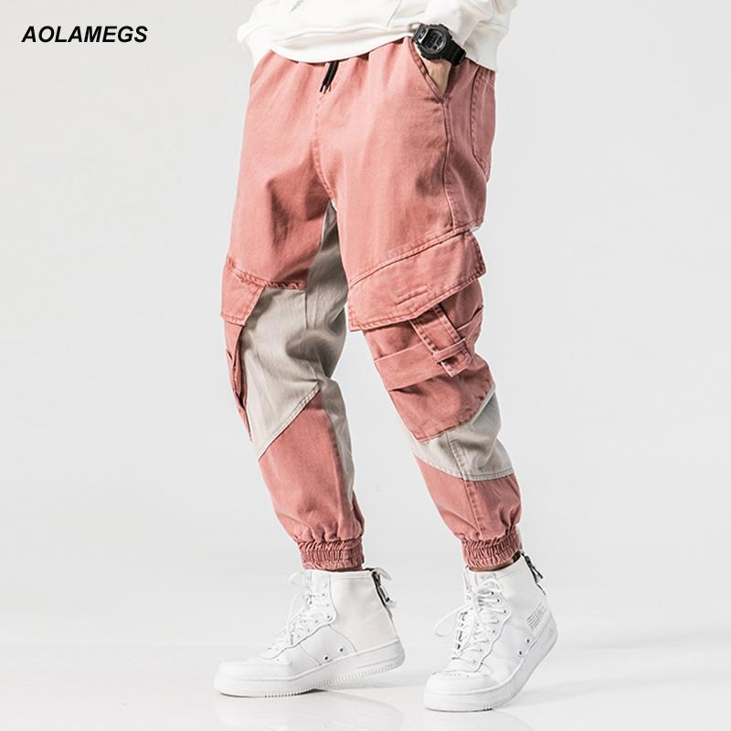Compre Aolamegs Hombres Pantalones Casuales Pantalones De Atletismo  Herramientas De Empalme Bolsillos Grandes Color De Contraste Calle Moda  Pantalones ... e9664fd891c