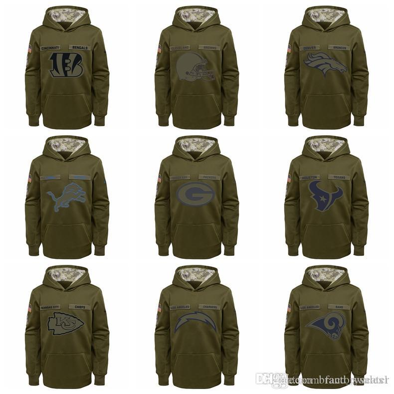 on sale 0a85a 22fcf YOUTH Bengals Cleveland Browns Dallas Cowboys Denver Broncos Lions Green  Bay Packers Salute to Service Sideline Performance Pullover Hoodie