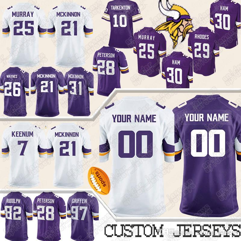 quite nice 17288 4567a Custom Minnesota Jerseys Vikings 21 Mike Hughes 33 Dalvin Cook 55 Anthony  Barr 26 Trae Waynes 84 Randy Moss 7 Case Keenum Jersey