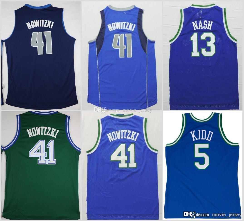 watch 080b9 8c081 Dallas Dirk Nowitzki 41 Mavericks Basketball Jerseys Green #5 Jason Kidd 13  Steve Nash Blue Stitched Shirts Basketball Jersey