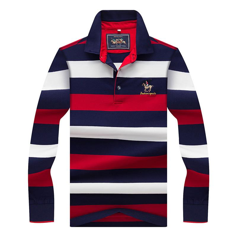 Tops &Tees Men 'S Polo Shirts Fashion Style Winter Striped Brand Long Sleeve Polo Shirt Men Polos Solid Polo Shirt