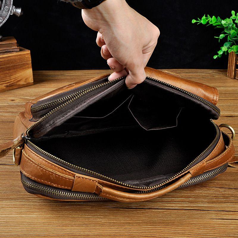 Original Leather Male Multifunction Fashion Casual Design Satchel Crossbody Shoulder Messenger bag Tote Tablet Pouch For Men 036