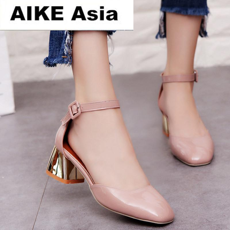 89f5fa692b84 Zapatos Mujer Women Pumps Ankle Strap Thick Heel Women Shoes Square Toe Mid Heels  Dress Work Pumps Comfortable Ladies Shoes 5cm Skechers Shoes Mens Dress ...