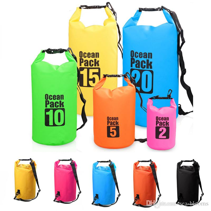 7 Colors Waterproof Swimming Bag Sports Outdoor PVC Clip Mesh Bucket Bag Drift Bucket Waterproof Dry Bag For Kayaking Beach Fishing M236Y