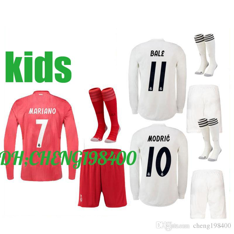 6589bbf28 2019 18 19 Real Madrid Long Sleeve Kids Kit Soccer Jerseys MARIANO BALE  HOME Third Away 2018 2019 BENZEMA ISCO ASENSIO MODRIC FOOTBALL SHIRTS From  ...