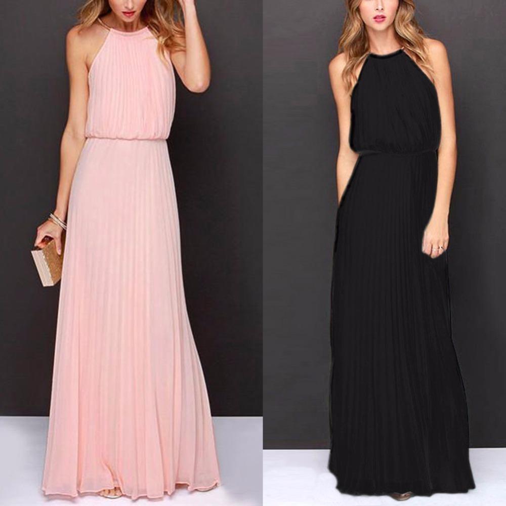 fff142dade8ff Summer Dress Women Casual Elegant Evening Party Dresses Formal Chiffon  Sleeveless Prom Maxi Dress Beach Long Sundress