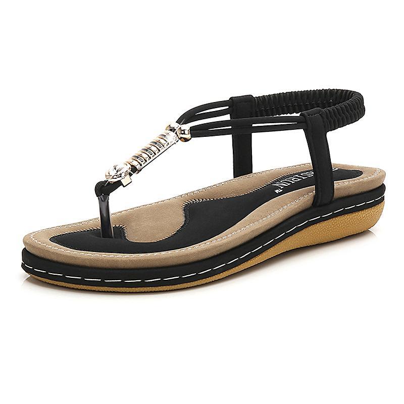 7bb74b08ee9 Compre Tamanho 36 44 Sandálias Das Mulheres 2019 Verão Mulheres Sapatos  Moda Sandálias Flat Elastic Banda Roma Pedrinhas Praia Sapatos De Beigekar