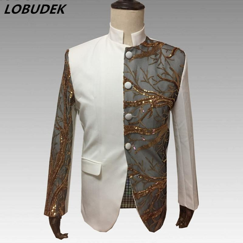 Jackets Collection Here New Autumn Mens Jacket Fashion Personality Embroidered Jacket High Quality Male Casual Slim Suit Jacket Plus Size Stage Costumes