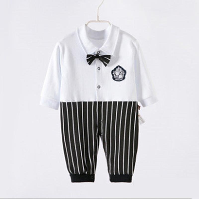 Autumn Spring Wear Long Sleeve Cotton Clothing Jumpsuits Hot Baby Boy Girl Climb Clothes Bowknot Figure Kids Romper One-Piece