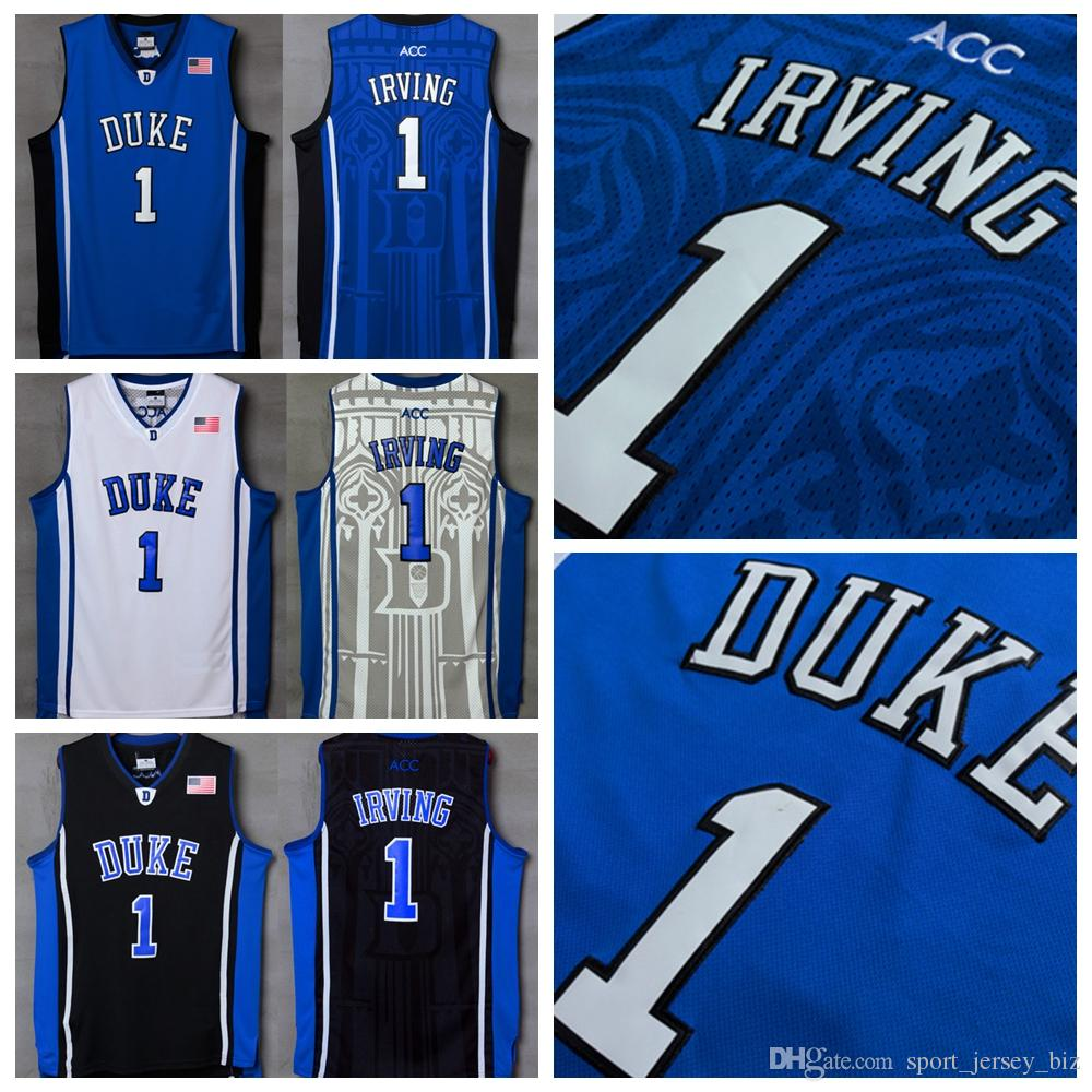 25cd61fc414 2019 Duke Blue Devils  1 Kyrie Irving Jersey Stitched Blue White Black Men S  NCAA University College Kyrie Irving Basketball Jerseys Shirts From ...