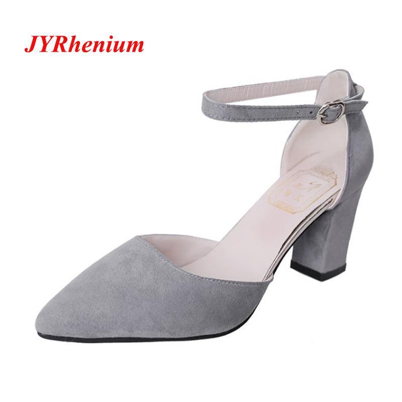 7f23e33e13876 Dress Shoes JYRhenium 2019 New Autumn Design Ladies High Heels Pointed Toe  Classic Women Pumps Thick Heels Dress Woman Plus Size 34 40 Mens Dress Shoes  Prom ...