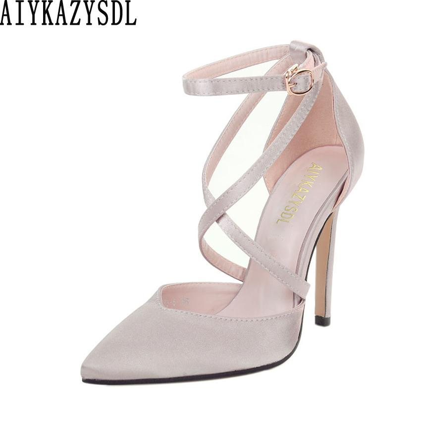 4399b8f015 Dress Aiykazysdl Spring Women Pumps Satin Silk High Heel Cross Strap Cut  Out Ankle Strap Shoes Stiletto Dress Wedding Bridal Shoes Mens Dress Shoes  Prom ...