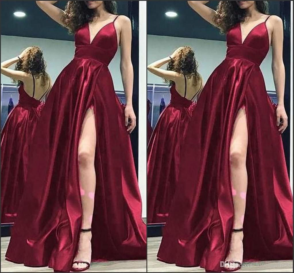 d9fb45dd0bee Vestidos Pra Noite Sexy Alta Divisão Vestidos De Noite Formal Elegante  Profundo Decote Em V Ruched Borgonha Prom Vestido Longo 2019 Vestidos  Vestidos De ...