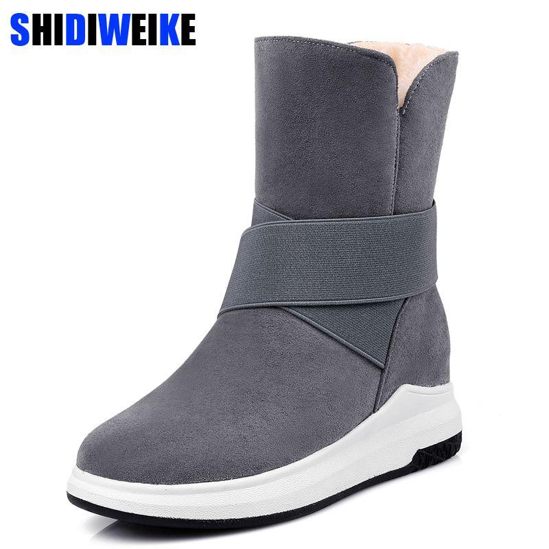 f4087b170f1 Acheter Chaussures Hiver Femme Bottes Mi Mollet Pour Dames La Nouvelle Botte  De Neige Femme Beige Gris Noir Mode Noir Et Chaud N287 De  29.58 Du  Aichuanjie ...