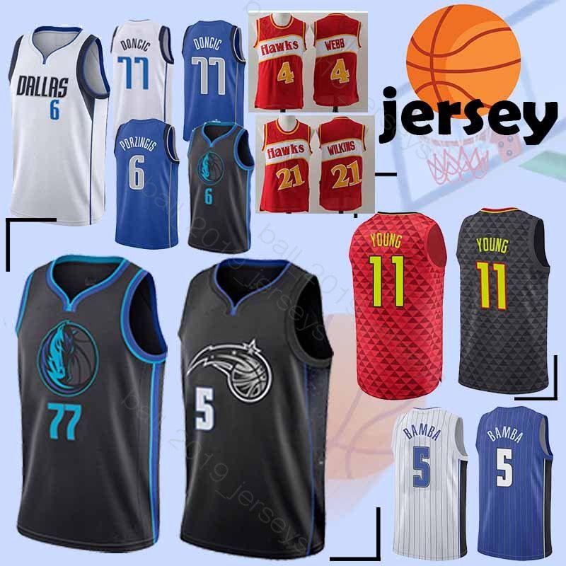 65077a01 6 Porzingis 77 Doncic 5 Bamba 11 Young jersey Hot sale 2019 new men  basketball tracksuit jersey