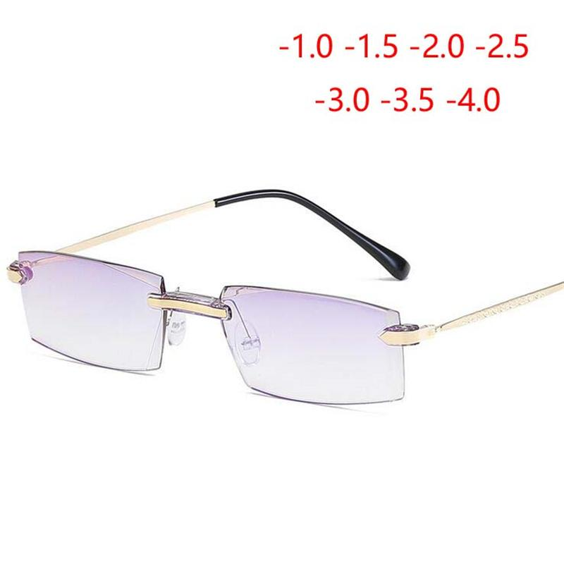 65777a981c1 2019 Luxury Diamond Cutted Style Myopia Glasses Men Anti Blue Light Rimless  Short Sight Eye Glasses 1 1.5 2 2.5 3 3.5 4.0 From Ylingnei