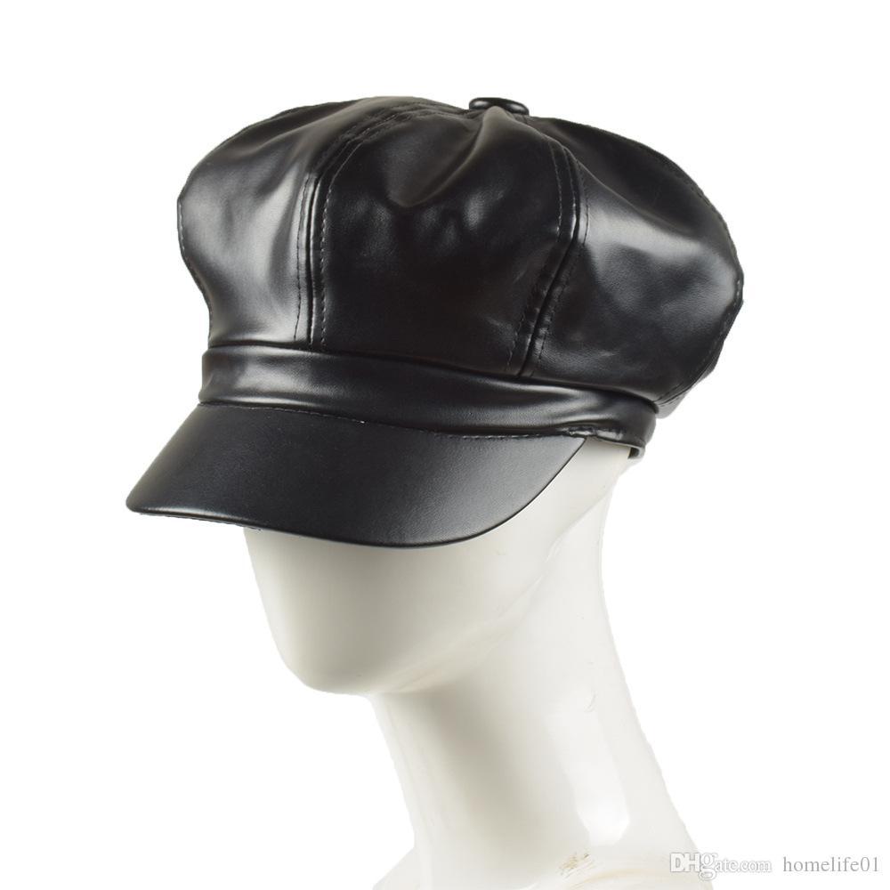 469fa5774a1 Fashion Artist PU Women Beret Hat For Women Cap Female Cap Casual ...