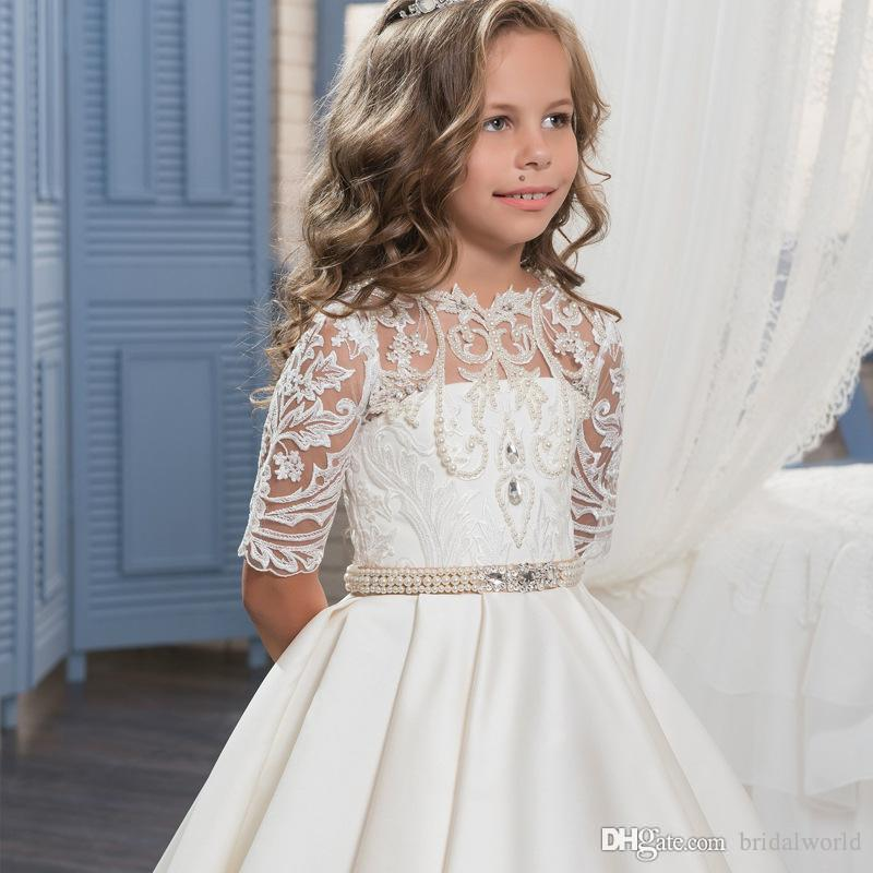 Flower Girl Dresses Wedding Party Dress Reliable Walk Beside You Champagne Pink Flower Girl Dresses First Communion Dresses For Girls Vestido Flores Long Sleeves Lace Applique