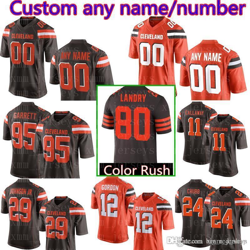 389b0e91473 2019 Men'S Cleveland Custom Browns Jersey 95 Myles Garrett 24 Nick Chubb 19  Bernie Kosar 32 Jim Brown 85 David Njoku 29 Duke Johnson Jr 44 K From ...