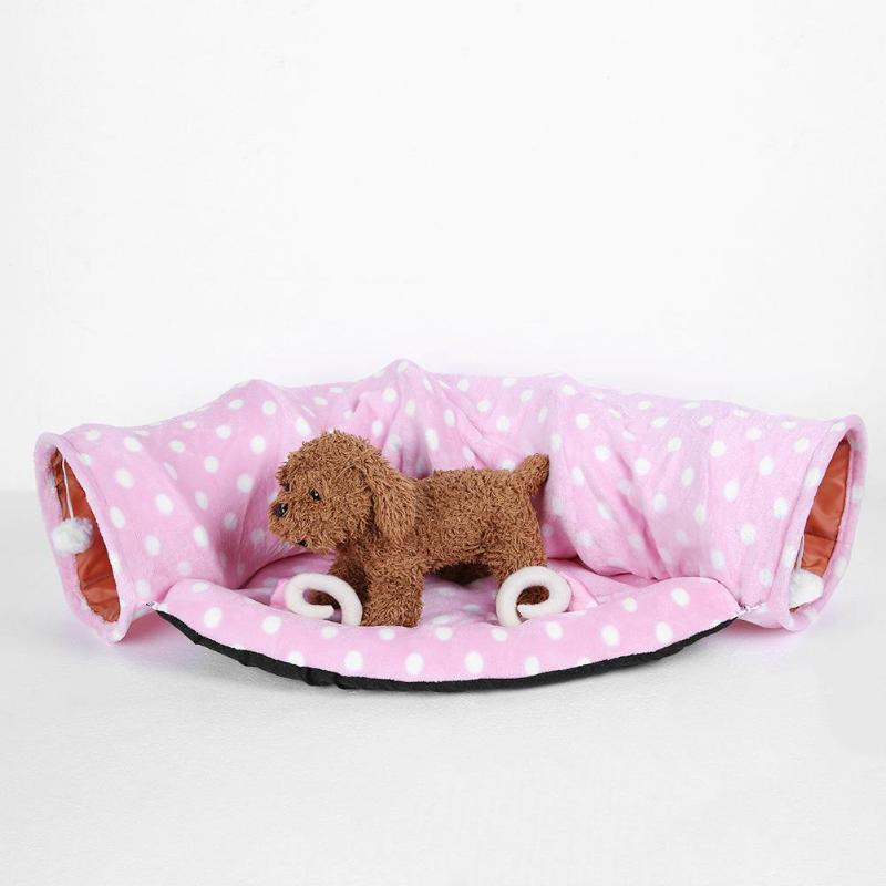 Collapsible Dog Cat Ring Paper Two-way Tunnel Stitching Pet Bed Suitable Pets Supplies For Small Dogs Cats