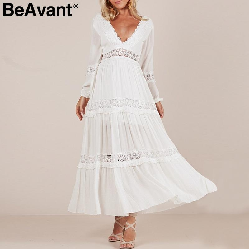 e2fb7fd62280 BeAvant Backless V Neck Sexy Dress Women Elegant Long Sleeve White Lace  Dress Hollow Out Pleated Summer 2019 Vestidos Party Long Dresses For Women  Tight ...