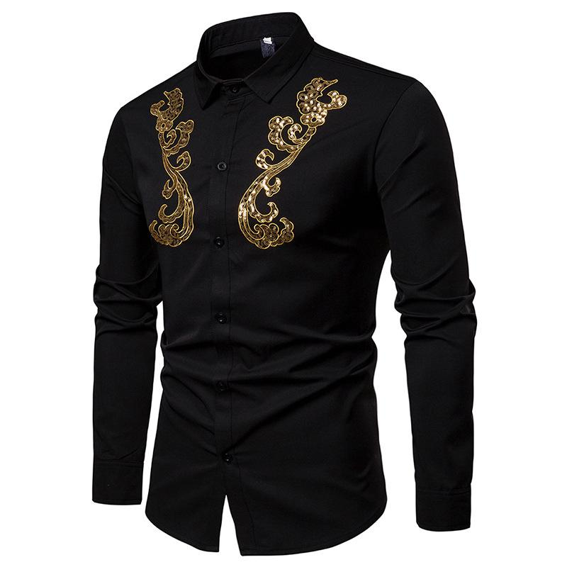 New Fashion Men's Shirts Chest Golden Lace Decoration Gentlemen's Dynamic-turn-collar Long Sleeve Shirt