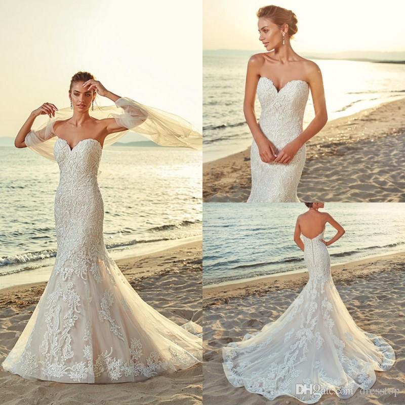 84d7481bc3 2019 Eddy k Beach Mermaid Wedding Dresses Sexy Sweetheart White Boho Bridal  Gowns abiti da sposa Backless Abito da sposa in cristallo corto