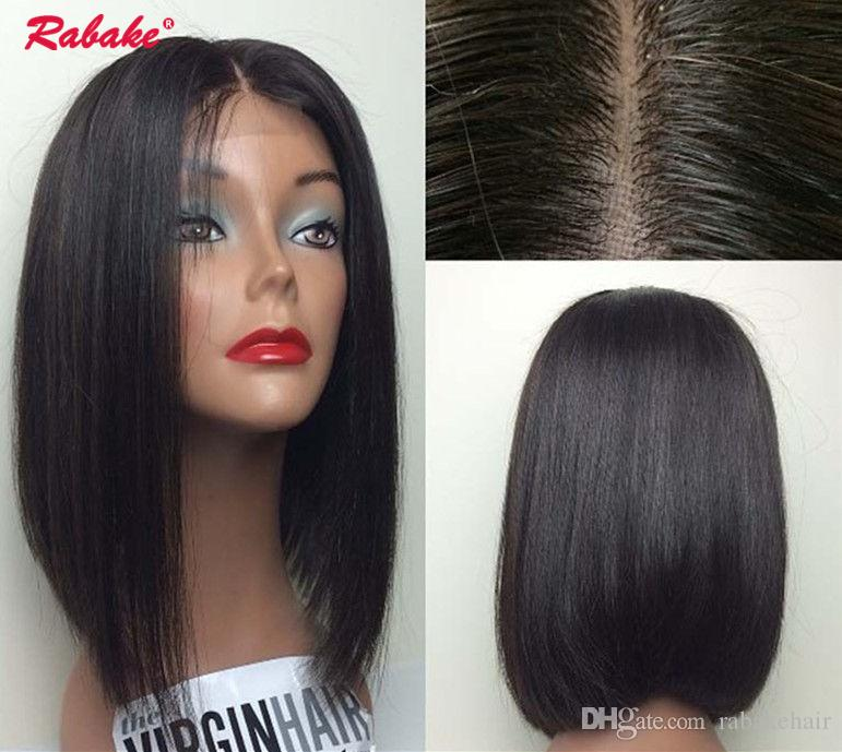 Silk Top Front Wig Short Lace Front Human Hair Wigs Bob Wig Full And Thick For Black Women Natural Color Brazilian Remy Hair 4*4 Lace Wigs