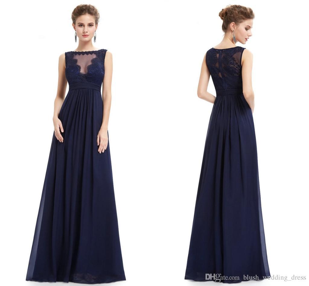 fc1c5971c Compre Azul Marino Vestidos De Noche Hombro Largo Temperamento Elegante  Europeo Y Americano Hombro Noble Falda Larga Encaje Vestidos De Dama De  Honor DH4221 ...