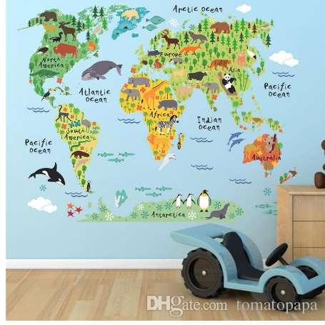 new 037 cartoon animals world map wall decals for kids rooms office