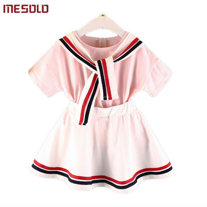 good quality 2019 Navy Girls Suit College Wind Striped Collar Fashion Casual Comfort Outfit Short Sleeve Top + Skirt 2 Pcs Set