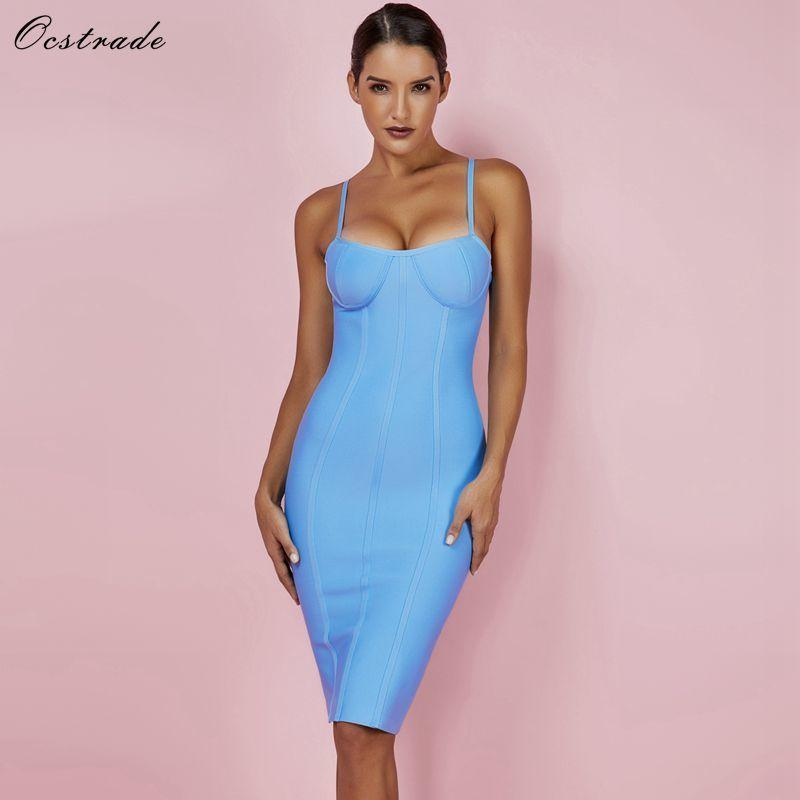 a7e8bd493f 2019 Ocstrade Women Dress Bandage 2018 New Arrivals Summer Sexy Light Blue  Spaghetti Strap Rayon Bandage Dress Bodycon Party Dress Y190121 From  Shenyan01