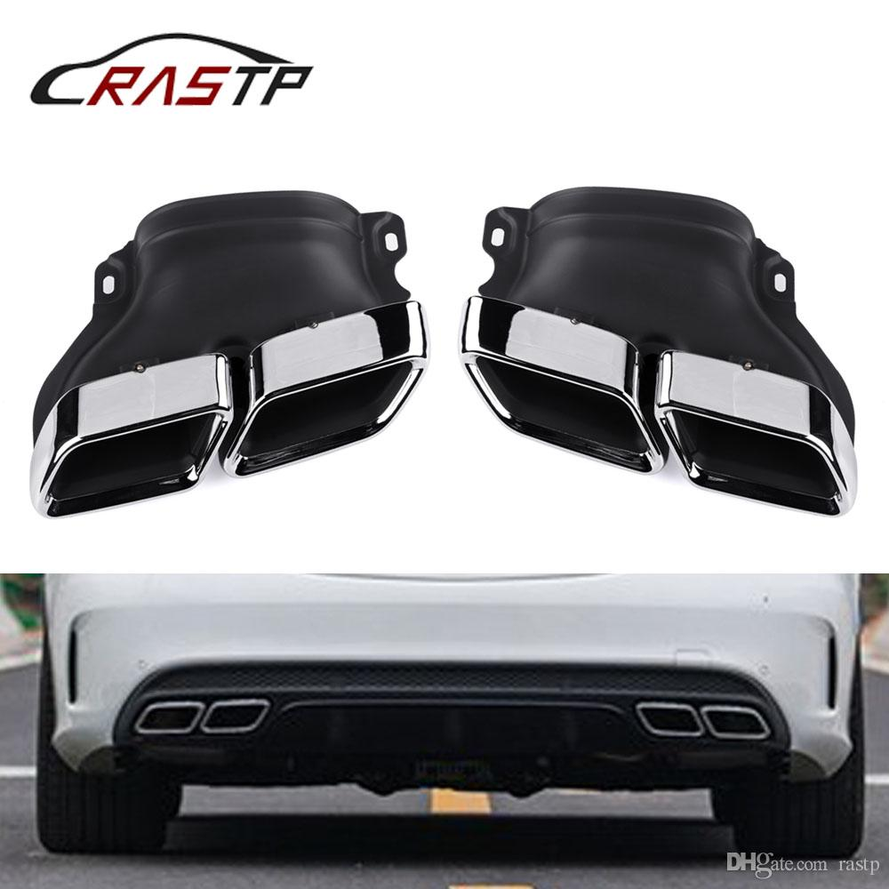 Rastp Car Dual Square Exhaust Muffler Tip Stainless Steel Exhause Pipe With Logo For Mercedes Benz 14 C Class W205 Rs Cr2011