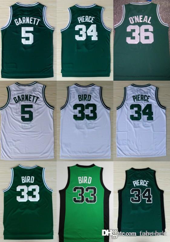 6e8b6fd4d3e8 Boston 5 Garnett Celtics Jerseys 33 Larry Kevin Bird 34 Pierce 36 ...
