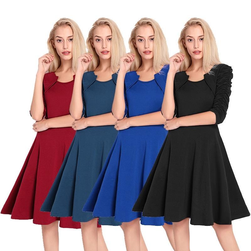 Women Pleated Dress Elegant O-Neck Half Sleeve Dresses Vintage Soild Draped Sleeve A-Line Dresses Knee-Length Casual Dress 4colors GGA1594
