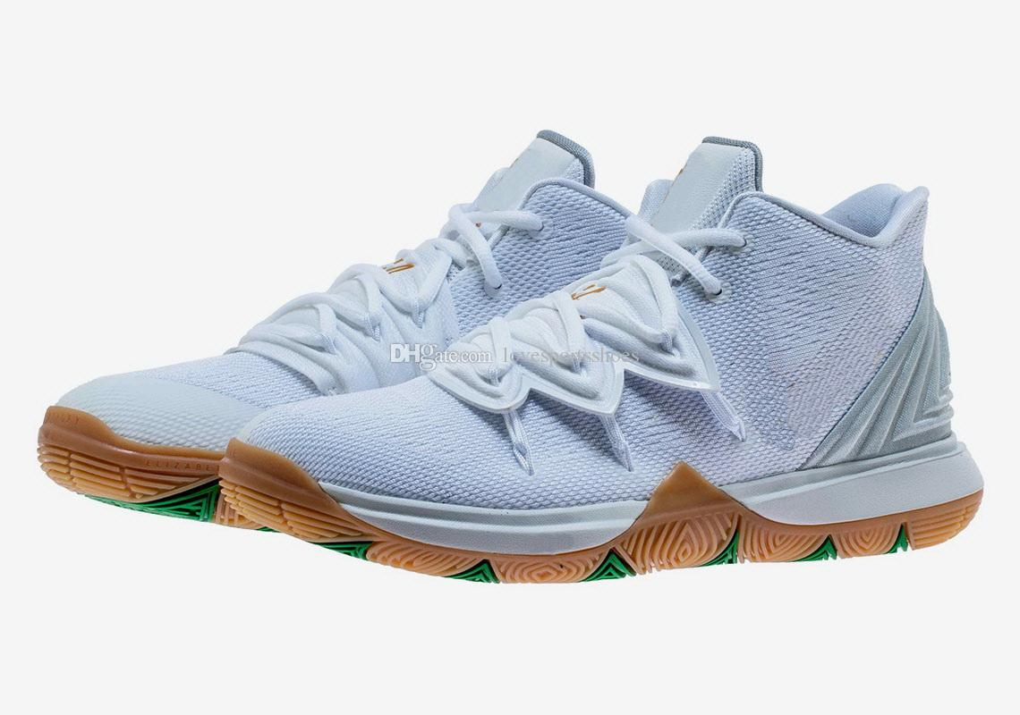 a12487f20eee Kyrie 5 Irish White Gold Cheap Sales Irving 5 Basketball Shoe Store With  Box Size40 46 Wide Running Shoes Lightweight Running Shoes From  Lovesportsshoes