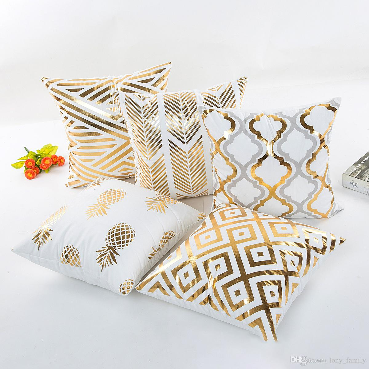 Wholesale 45*45cm 5 Styles Gold Patterns Cushion Covers Bedroom Seat Christmas Gifts Home Decor Kitchen Accessories Party Decoration