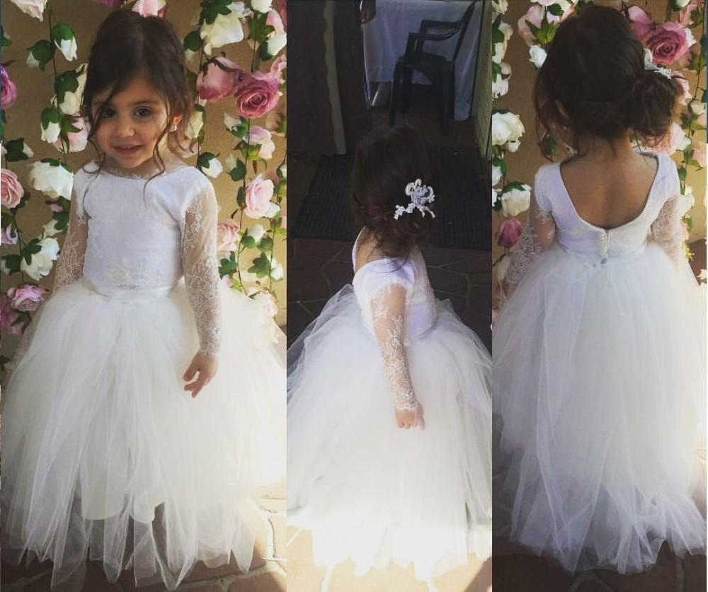 98cd7f15971 New Formal Long Sleeve Lace Tulle Custom Cute Little Flower Girl Dress  Floor Length Hand Made Flowers Bows Kids Wedding Party Birthday Dress Dress  Shoes For ...
