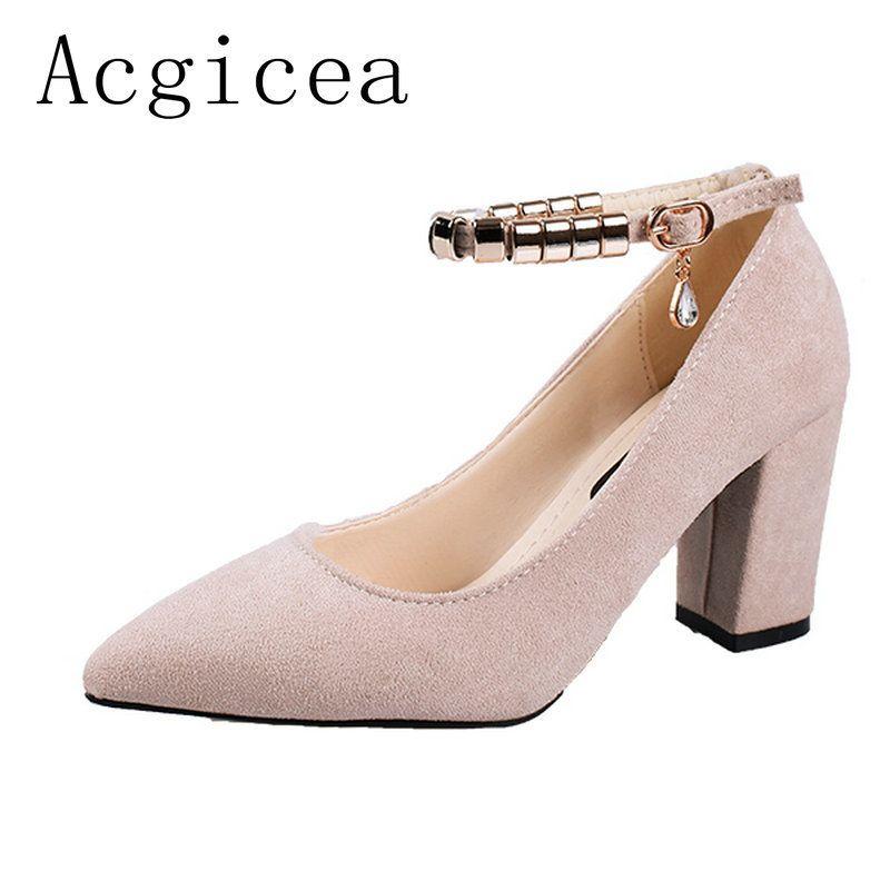eb45f674f Compre Designer De Sapatos De Vestido 2019 Novas Mulheres Elegantes Bombas  De Salto Alto De Metal Fivela Mulher Moda Primavera Calçados Casuais  Confortáveis ...