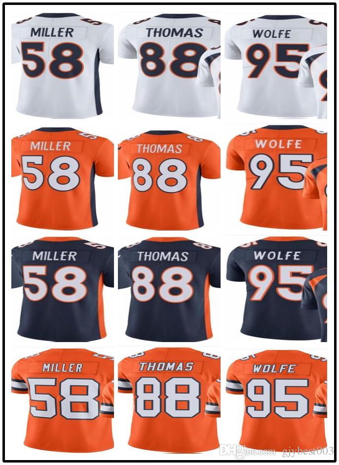 new style bdca6 a3b9c 2019 can custom men Denver Broncos Jerseys #58 Von Miller 88 Demaryius  Thomas 95 Derek Wolfe Man Jersey Rugby Clothing
