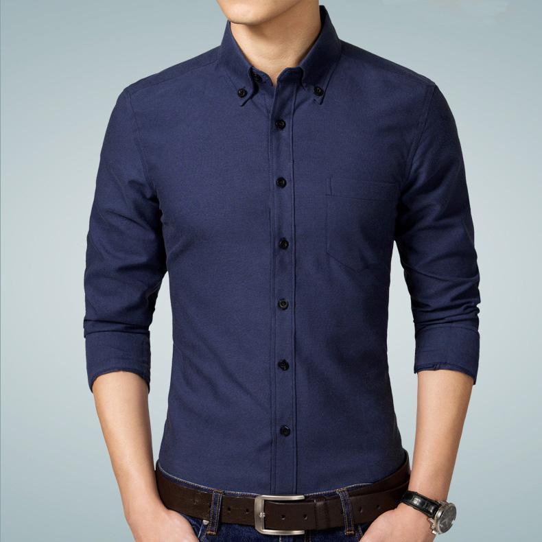 0a28c4722b Compre 2019 Novo Outono Marca De Moda Homens Camisa Camisa Social Slim Fit  Oxford Camisa De Manga Longa Camisa Masculina Plus Size 5XL De Primali