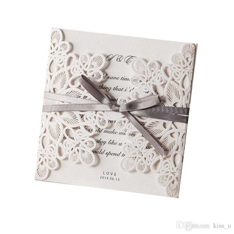 30pcs Flower Pattern Laser Cut Lace Wedding Invitations Card Kit Customize Invitation Cards With Envelope 2019