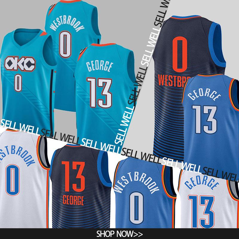 super cute 2600d a4536 0 Westbrook jerseys OKC Basketball Jerseys Carmelo 7 Anthony jerseys 13  George Russell jersey Embroidery Logos Basketball 100% Stitched