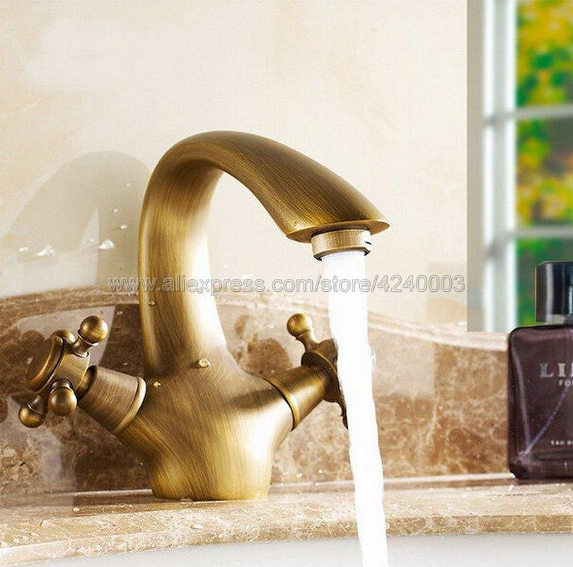 Astounding Bathroom Basin Faucet Antique Bronze Finish Brass Sink Faucet Double Handle Vessel Sink Water Tap Mixer Knf026 Download Free Architecture Designs Scobabritishbridgeorg