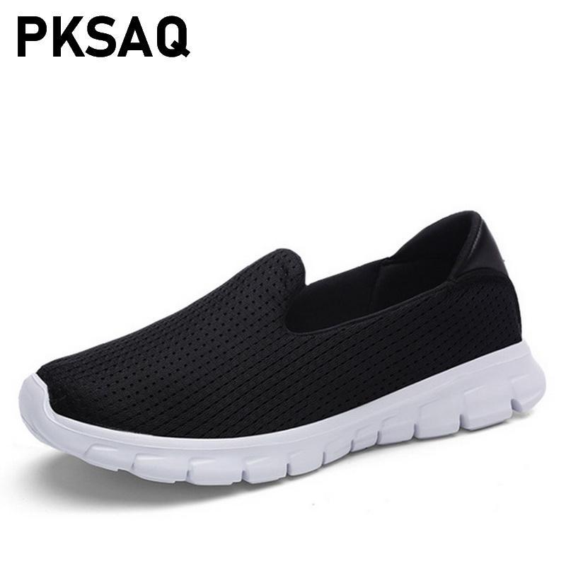 c0baf8602e Compre Zapatos Planos De Malla De Aire Para Mujer Zapatillas De Deporte  Planas Para Mujer Zapatos De Verano Para Mujer Zapatos Sin Cordones A  41.4  Del ...