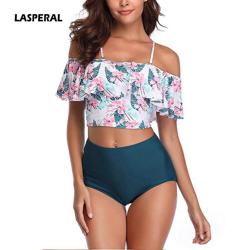 00005caa759f4 2019 LASPERAL 2019 Halter Bikini Set Ruffle Off Shoulder High Waist Bathing  Suit Women Sets Sexy High Waist Swim Wear Print Swimwear From Meicloth